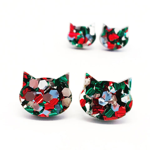Festive Cat Stud · Red, Green + Silver
