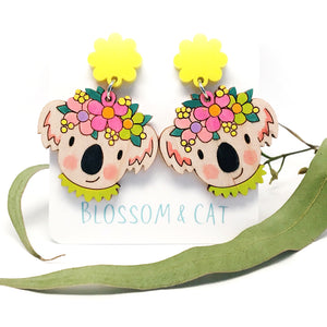 Koala Dangle Earrings · Yellow