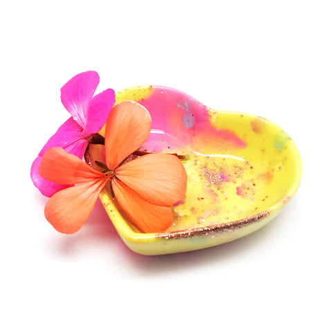 Resin Trinket Bowl · 'i heart you' · Yellow Pink