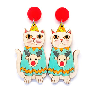 Christmas Kitty Earring · Blue Reindeer Jumper