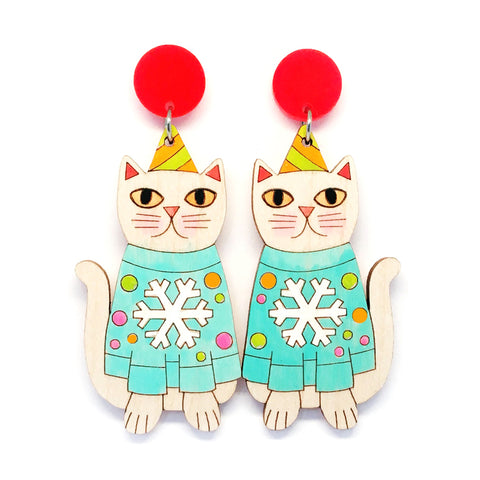 Christmas Kitty Earring · Blue Snowflake Jumper