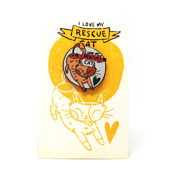 'I Love My Rescue Cat' Pin · Orange
