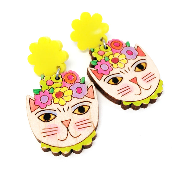 Frida Catlo Flower Dangle · Yellow