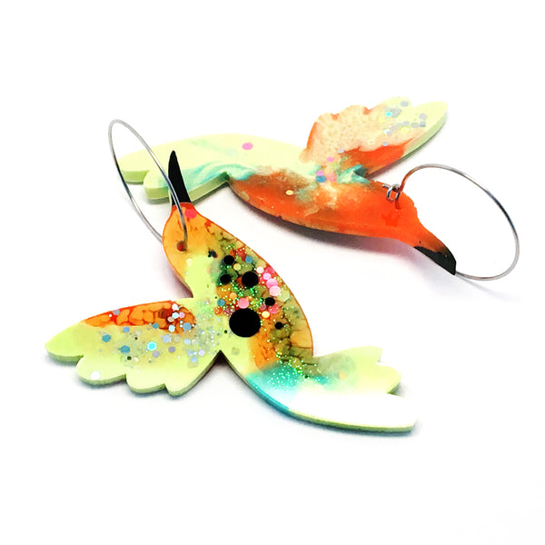 Hummingbird Hoops · Lime Orange
