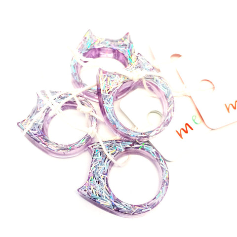 Glitter & Resin Cat Ring · Lilac Tinsel