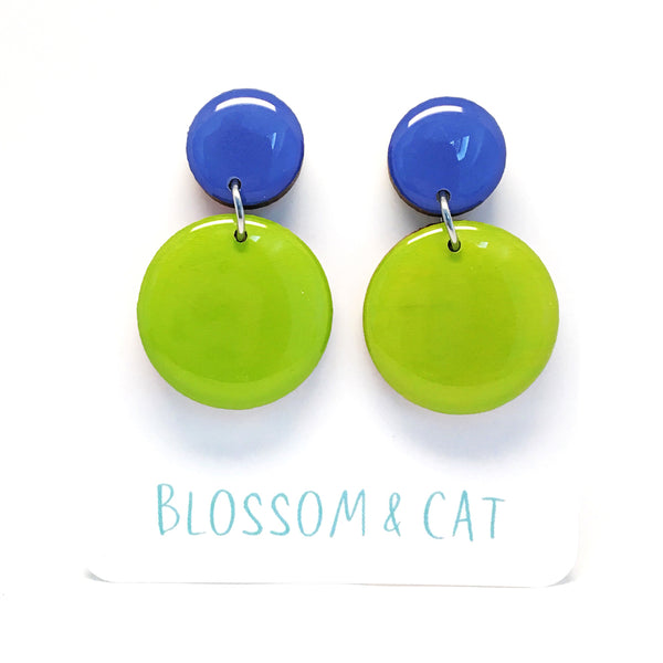 Pebble Dangles · Lime Green + Bluebell