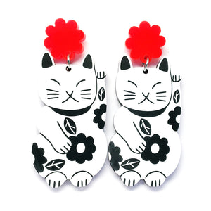 Lucky Cat · White + Neon Red