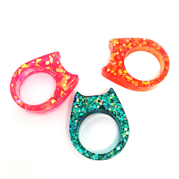 Ring Bundle · Glitter & Resin Cat Ring · Size 1 · Pack 8