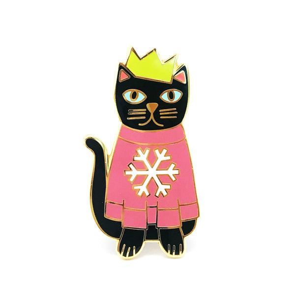 Cat Pin · Pink Snowflake Jumper