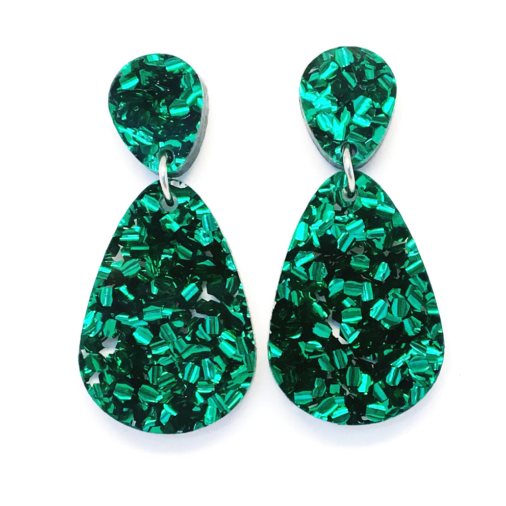 Glitter Raindrop Dangles · Green