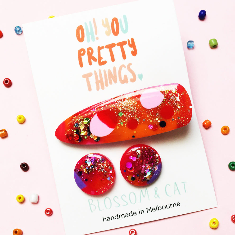 Resin Hair Clip & Stud Pack · Mix Colours