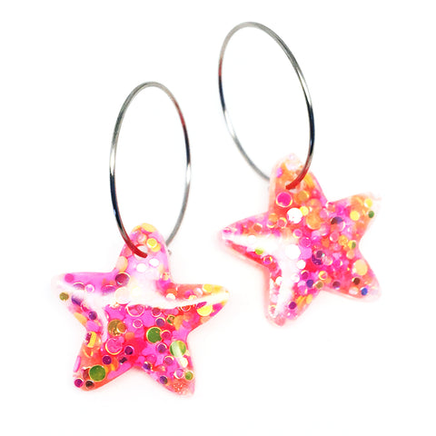 Resin · Mini Starfish Hoop · Pinky Apricot