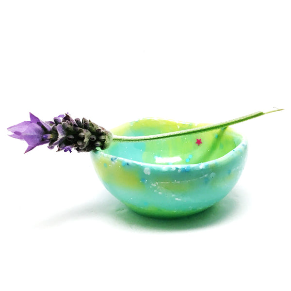 Resin Trinket Bowl · Tiny Organic · Lime Aqua