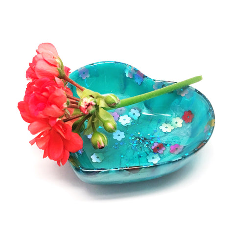 Resin Trinket Bowl · 'i heart you' · Turquoise