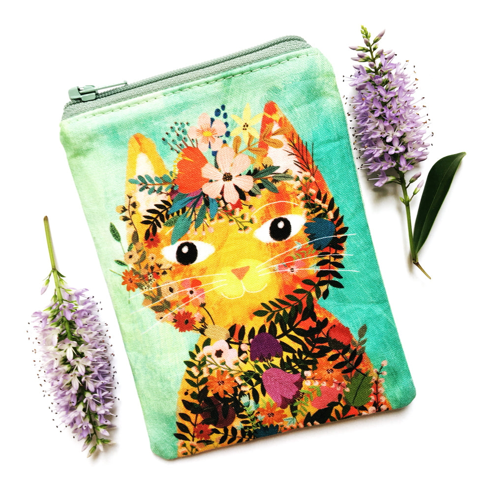 Coin Purse · Mint with Yellow Cat