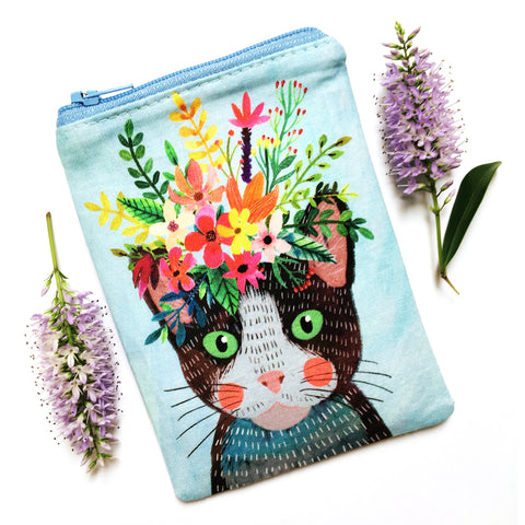 Coin Purse · Blue with Brown Cat