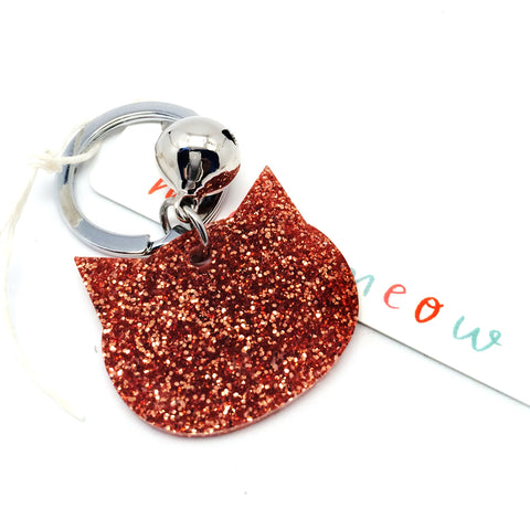 Glitter Cat Keyring · Copper / Rose Gold