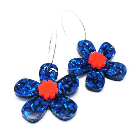 Daisy Hoops · Dark Blue