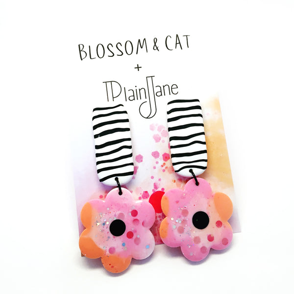blossom & cat + Plain Jane · Fleur Dangle · Apricot Rose