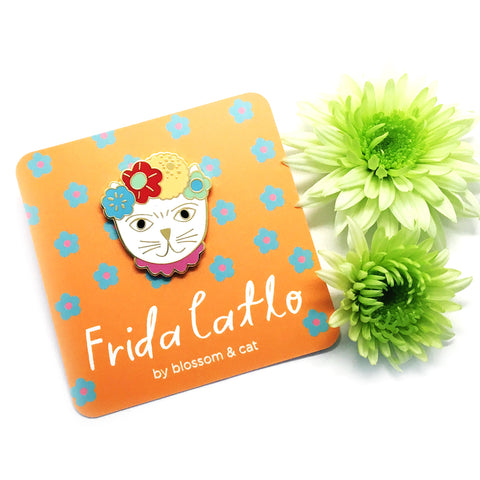 Frida Catlo Pin · White