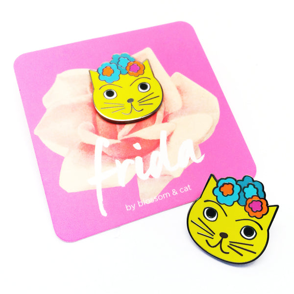 Frida Cat Pin · Yellow