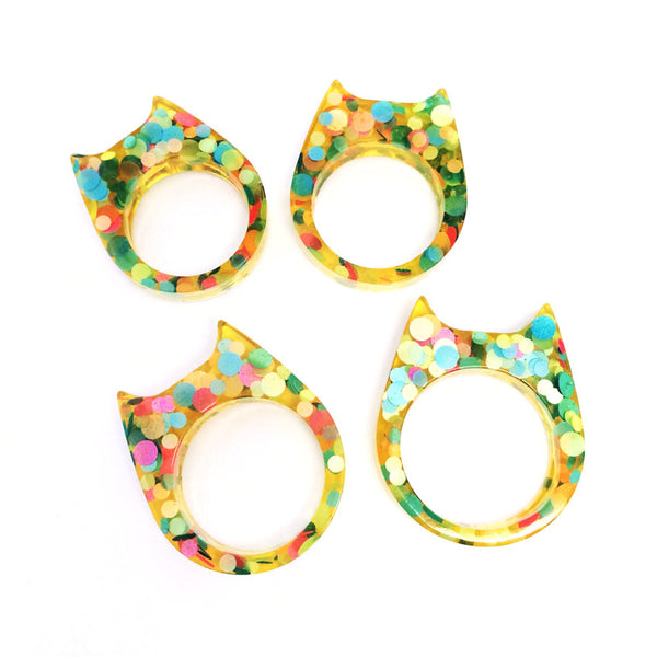 Glitter & Resin Cat Ring · Yellow Dotty