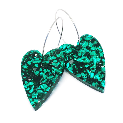 'i heart you' Glitter Hoop · Green