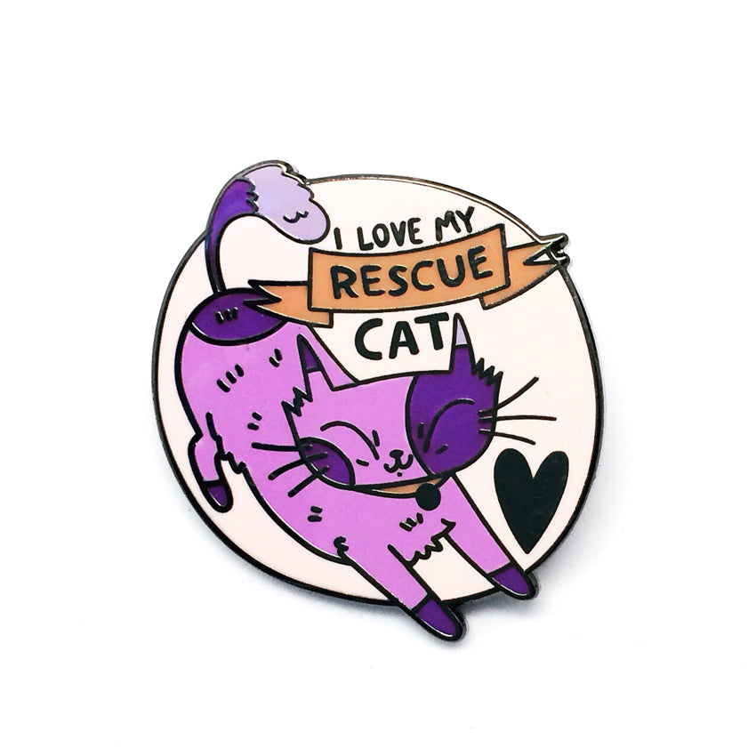 'I Love My Rescue Cat' Pin · Lilac