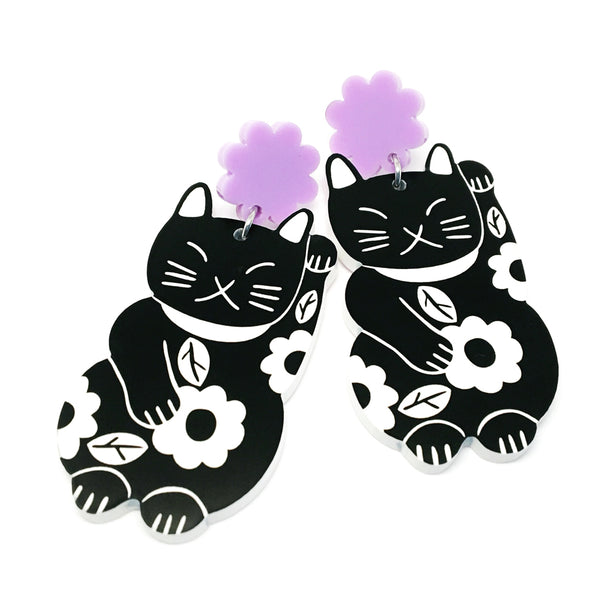 Lucky Cat · Black + Lilac