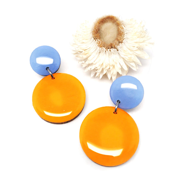 Pebble Dangles · Marigold + Sky Blue