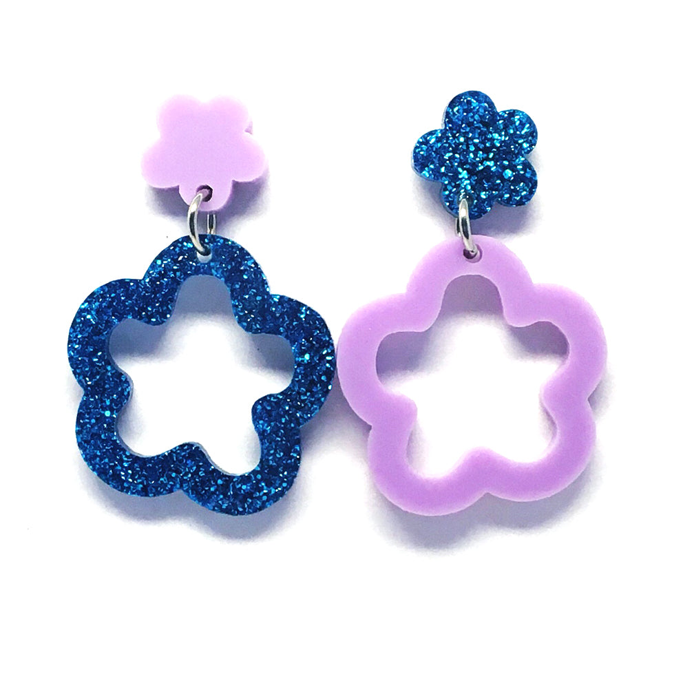 Mini Dangle · Daisy Hoops · Lilac & Blue Glitter