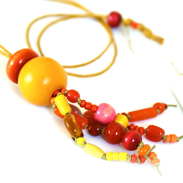 Bohemian Bead Necklace · Mustard