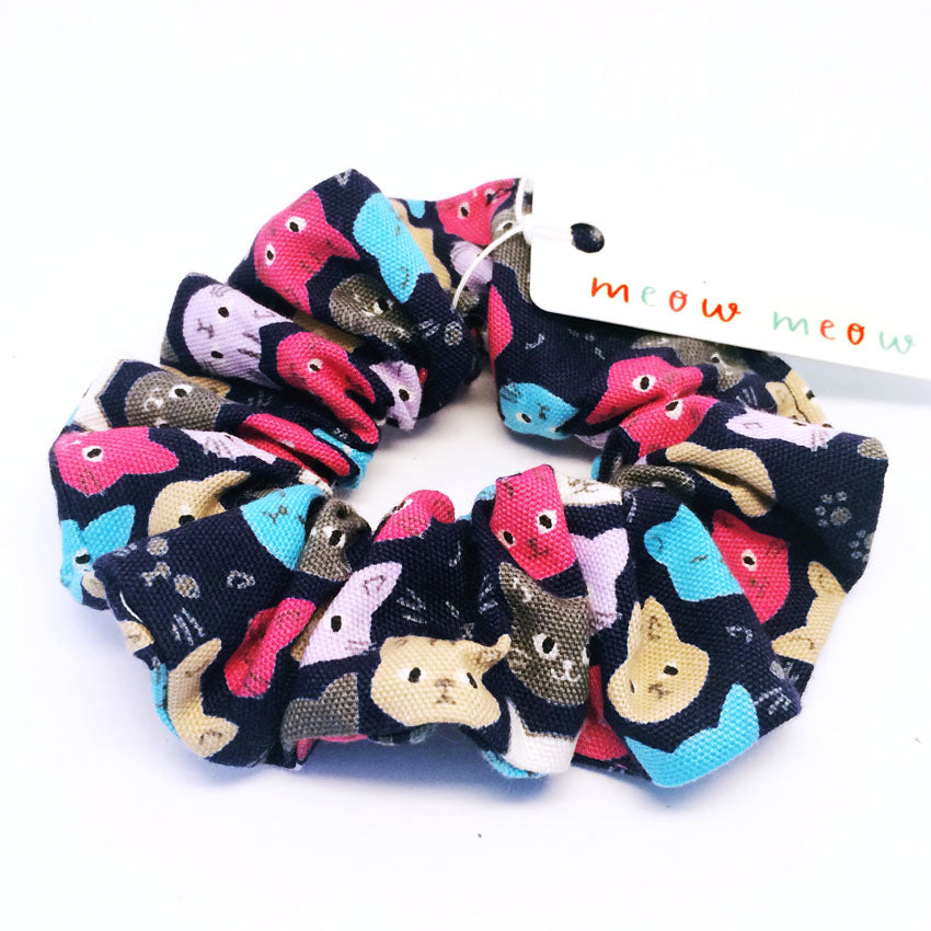 Scrunchie · Navy with Cat Face