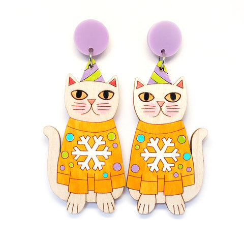 Christmas Kitty Earring · Orange Snowflake Jumper