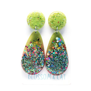 Resin Raindrop Dangle · Green