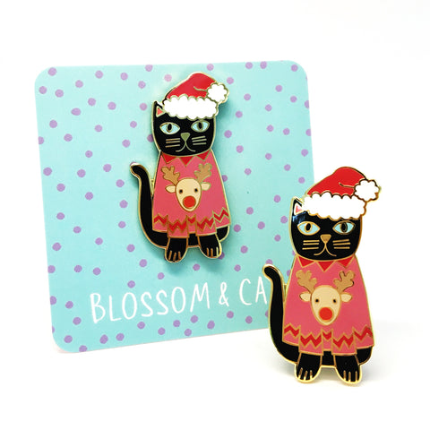 Christmas Cat Pin  · Pink Reindeer Jumper