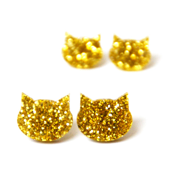 Cat Stud · Yellow Gold Glitter