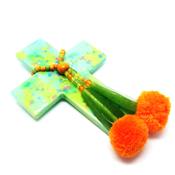 Resin Decorative Cross · Pom Pom · Mint Lime
