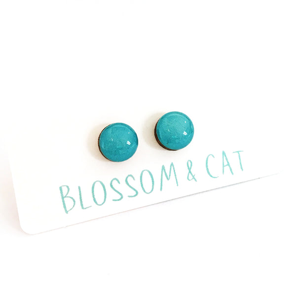 Dot Earrings · Cyan
