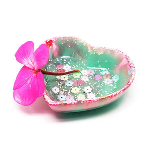 Resin Trinket Bowl · 'i heart you' · Turquoise Flowers
