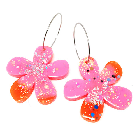 Resin · Flower Hoops · Pink + Orange