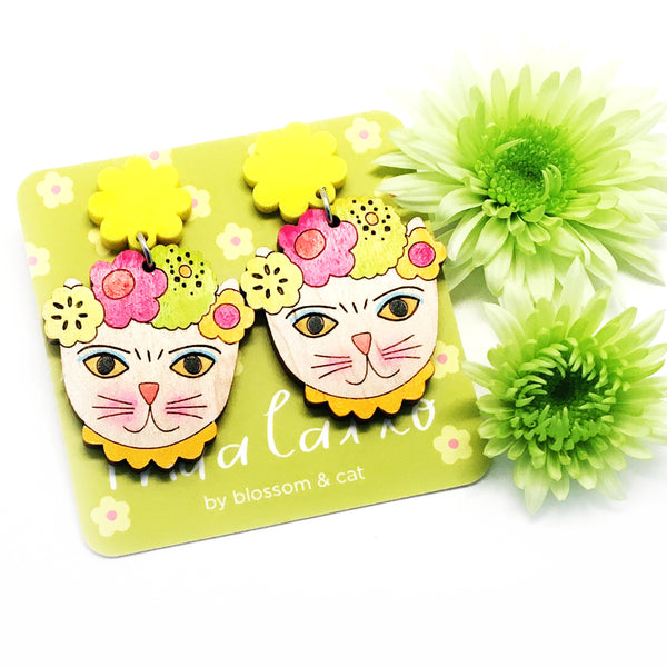 Frida Catlo Painted Flower Dangle · Yellow