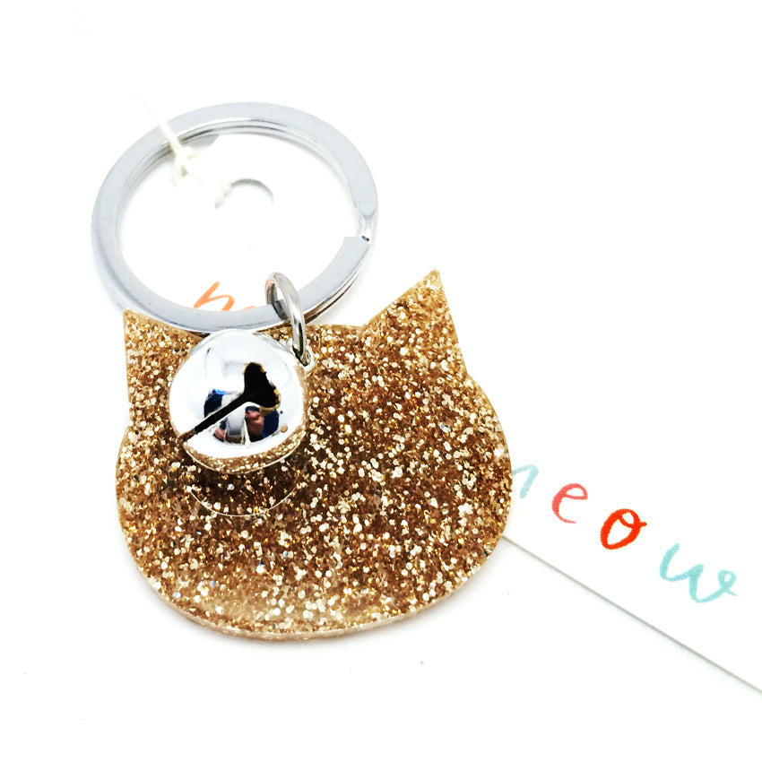 Glitter Cat Keyring · Light Gold