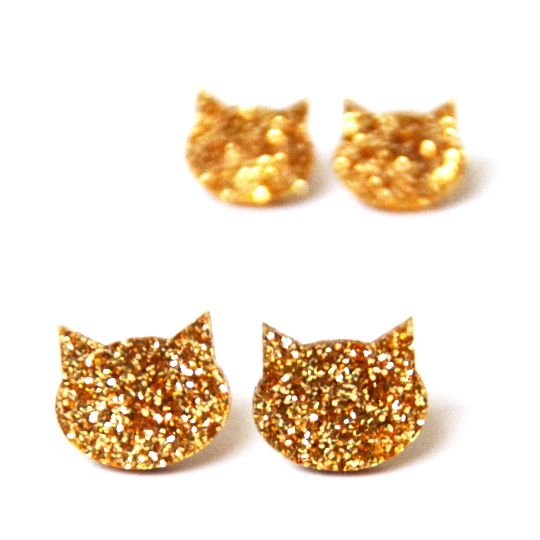 Cat Stud · Light Gold Glitter