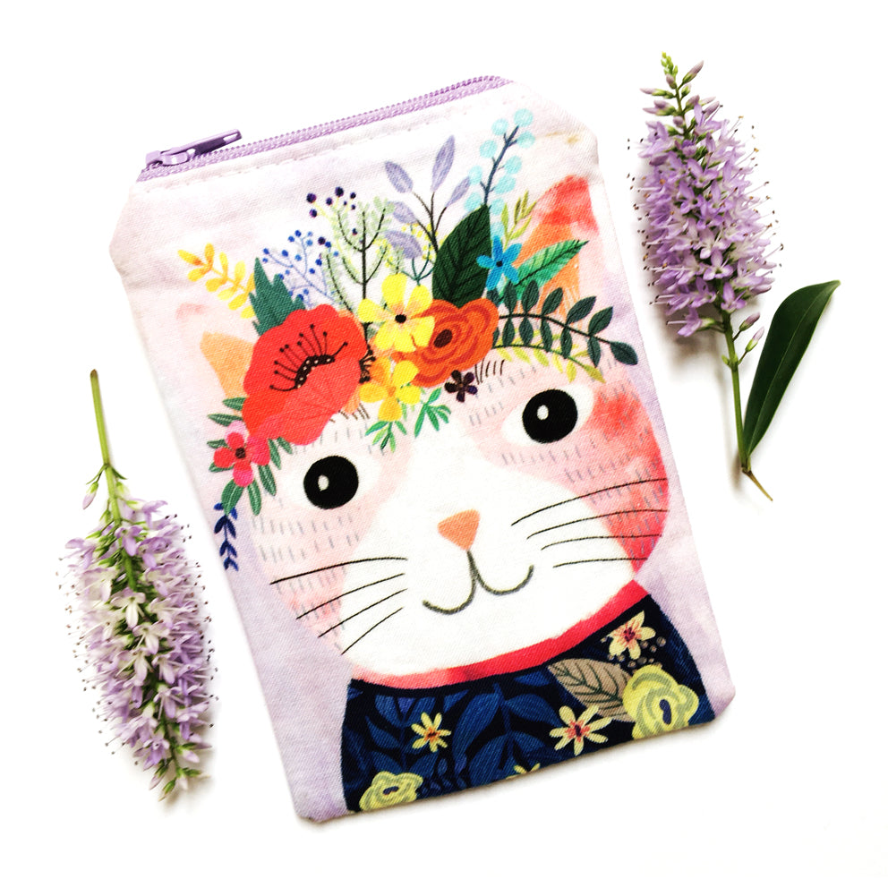 Coin Purse · Lilac with Pink Cat