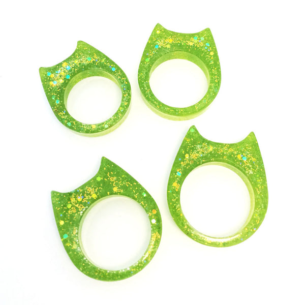 Glitter & Resin Cat Ring · Lime Fizz