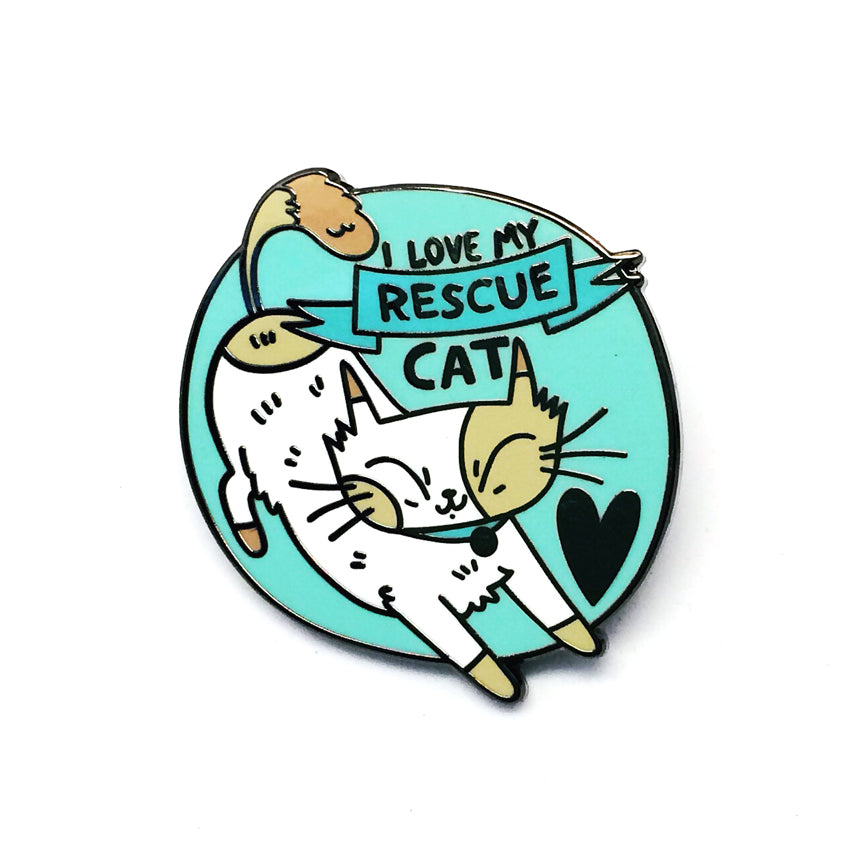 'I Love My Rescue Cat' Pin · Mint