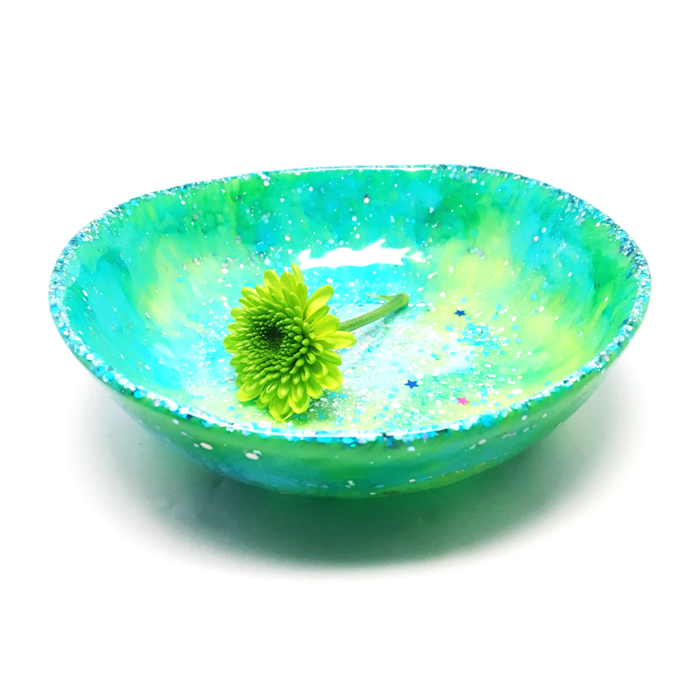 Organic Resin Bowl · Medium · Aqua & Lime