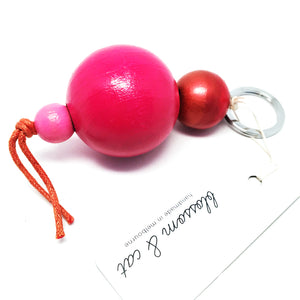 Large Bead Keyring · Pink + Red