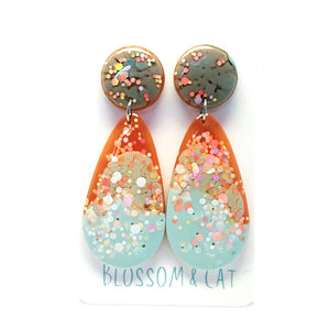 Resin Raindrop Dangle · Blue Grey Orange